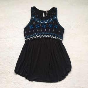 LIKE NEW Free People High Neck Black Tank Size S